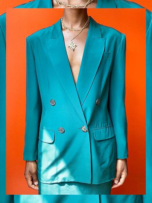 Green Silk Blazer & Skirt Set