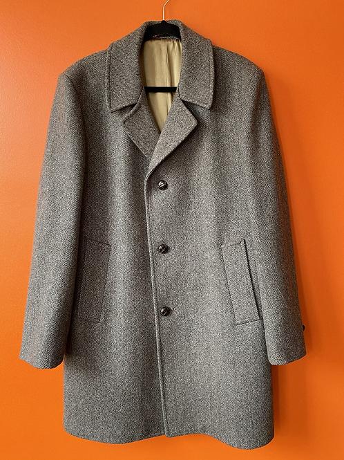 Brown Herringbone Wool Coat