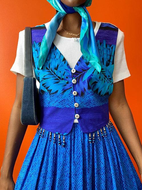 Blue Tropical 90's Vest Dress