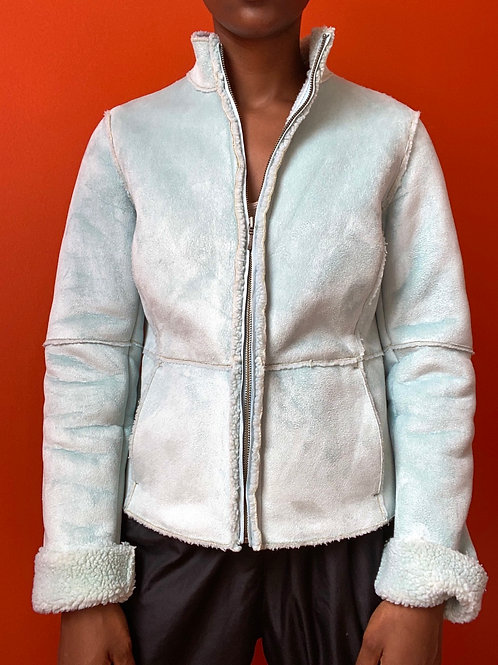 2000s Ice Blue Faux Fur Line Jacket