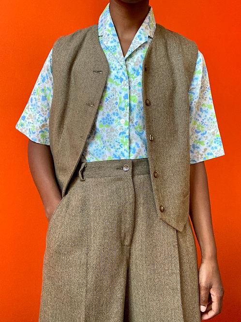 Herringbone Wool Vest Short Set