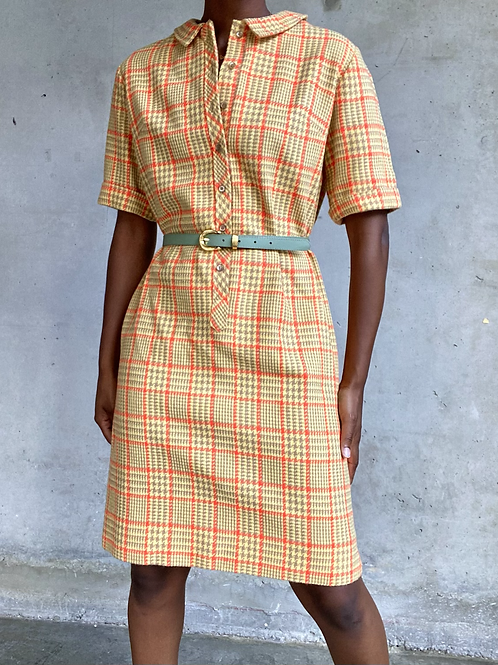 Houndstooth Plaid Yellow Dress