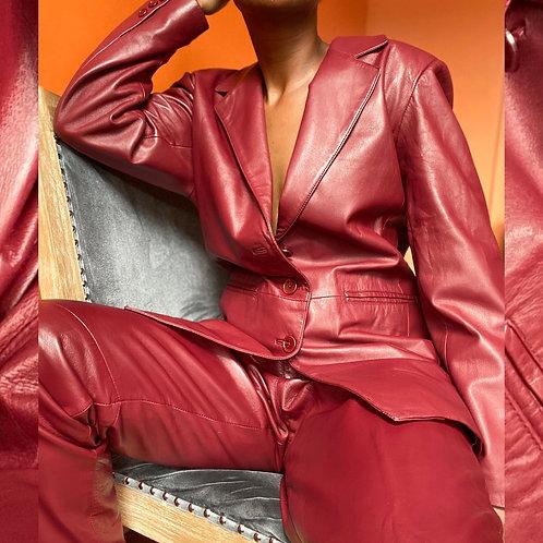 Burgundy 100% Leather Suit