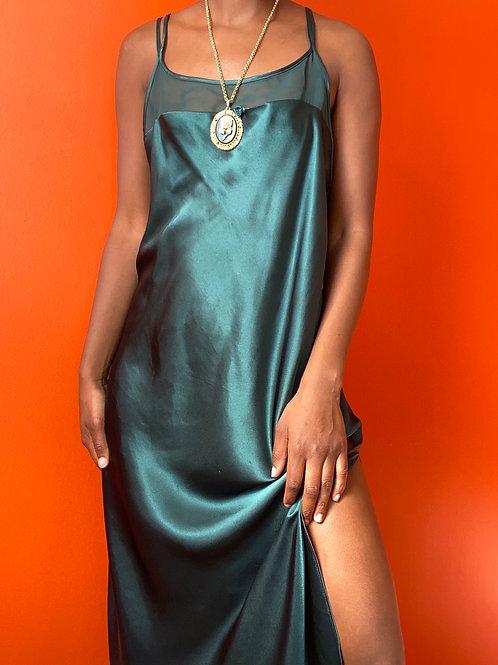 Green Satin Cross Back Slip Dress