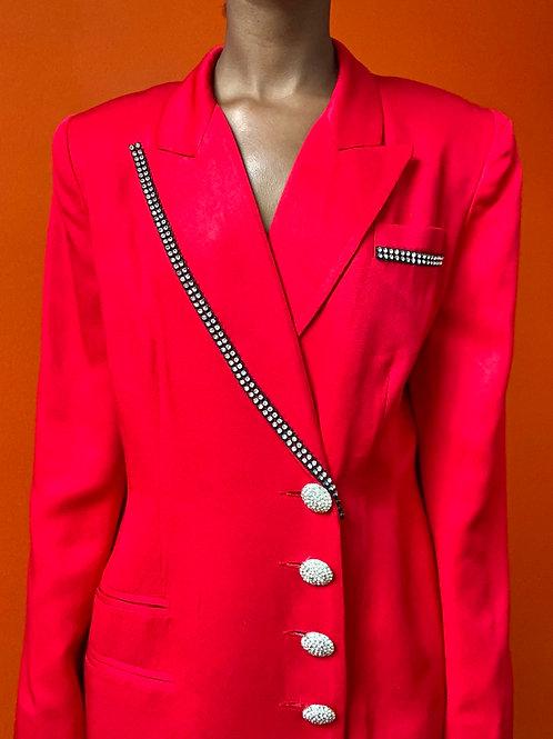 Red Crystal Button Blazer