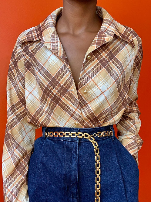 70's Pearl Button Plaid Top
