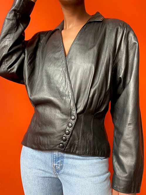 Leather Cropped Asymetrical Button Jacket