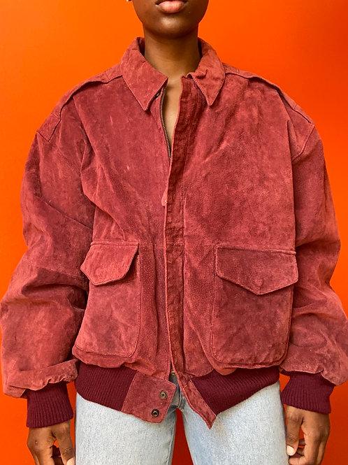 Burgundy Leather Suede Bomber Jacket