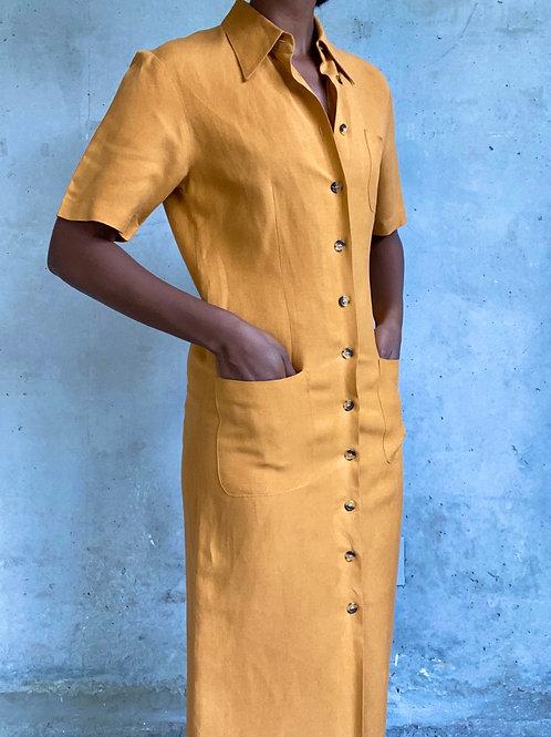 Mustard Linen Button Down Dress