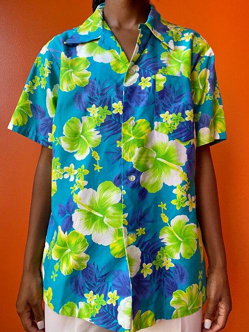 Neon Green Hawaiian Floral Button Down