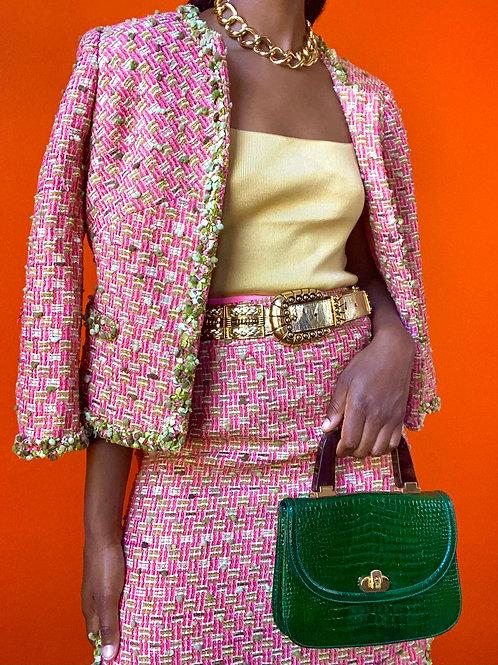 Pink & Green Tweed Skirt Set