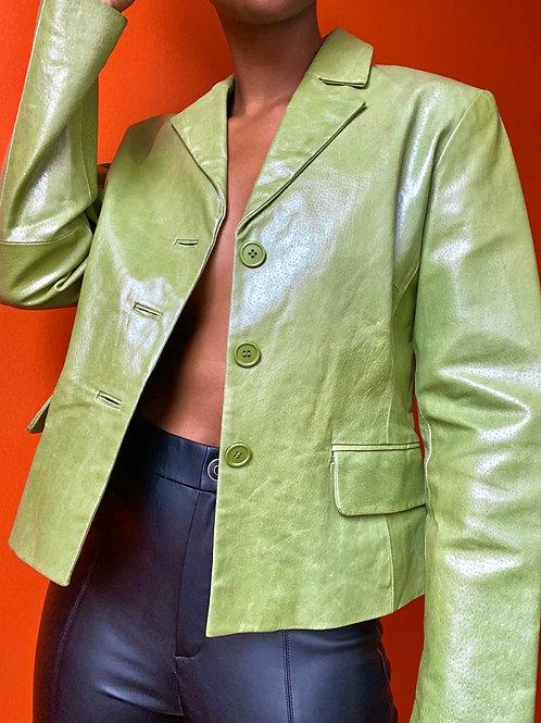 Olive Green Leather Blazer Jacket
