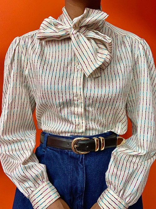 Poly Striped Neckte Blouse