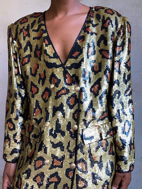 Cheetah Print Silk Sequin Blazer