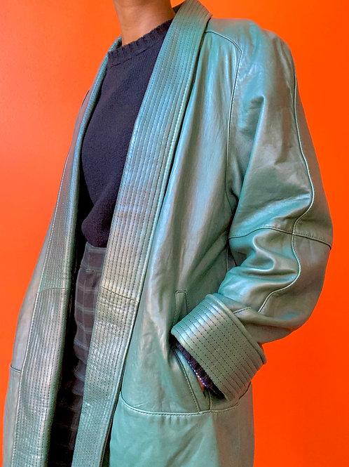 Green Leather Swing Coat