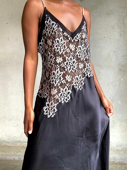 Black Lace Floral Sheer Cami dress