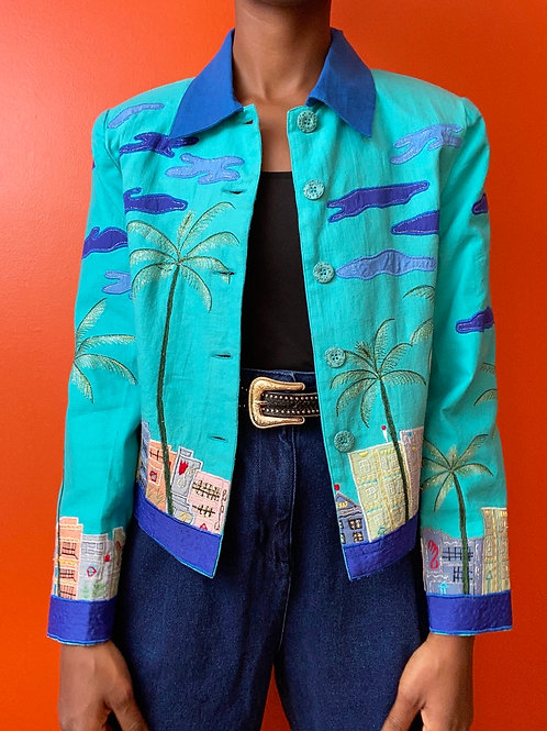 Boardwalk Embroidered Jacket - Turquoise