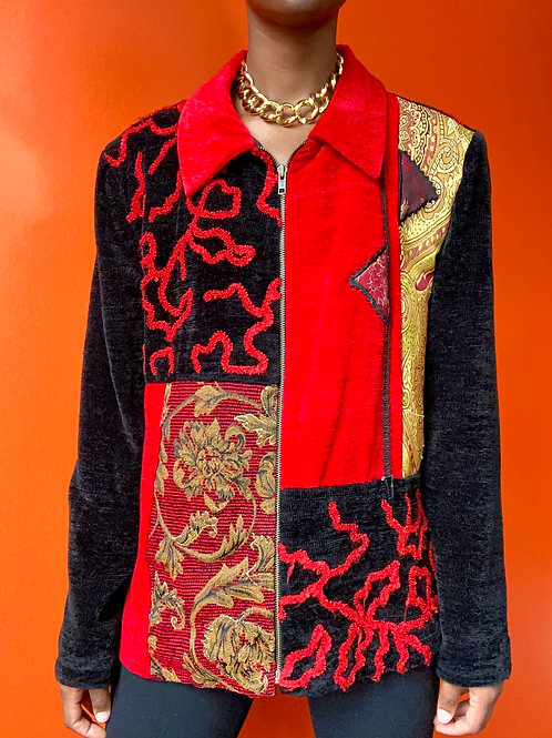 Red&Black Abstract Print Jacket