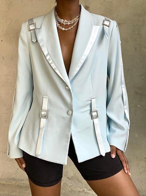 Baby Blue Crystal Buckle Blazer