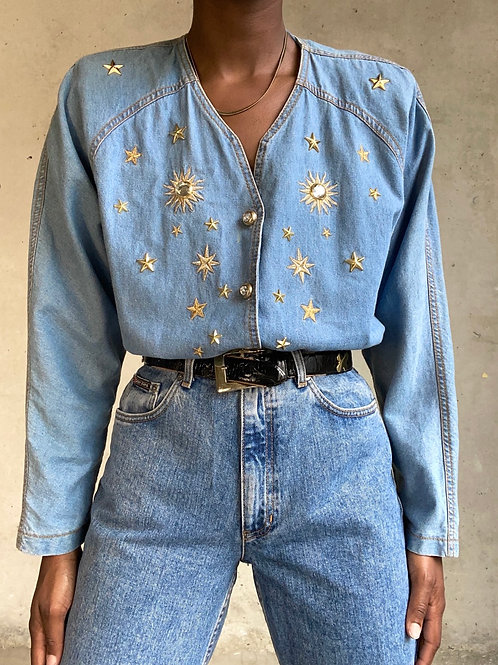 Denim Jewel Star Embroidered Top