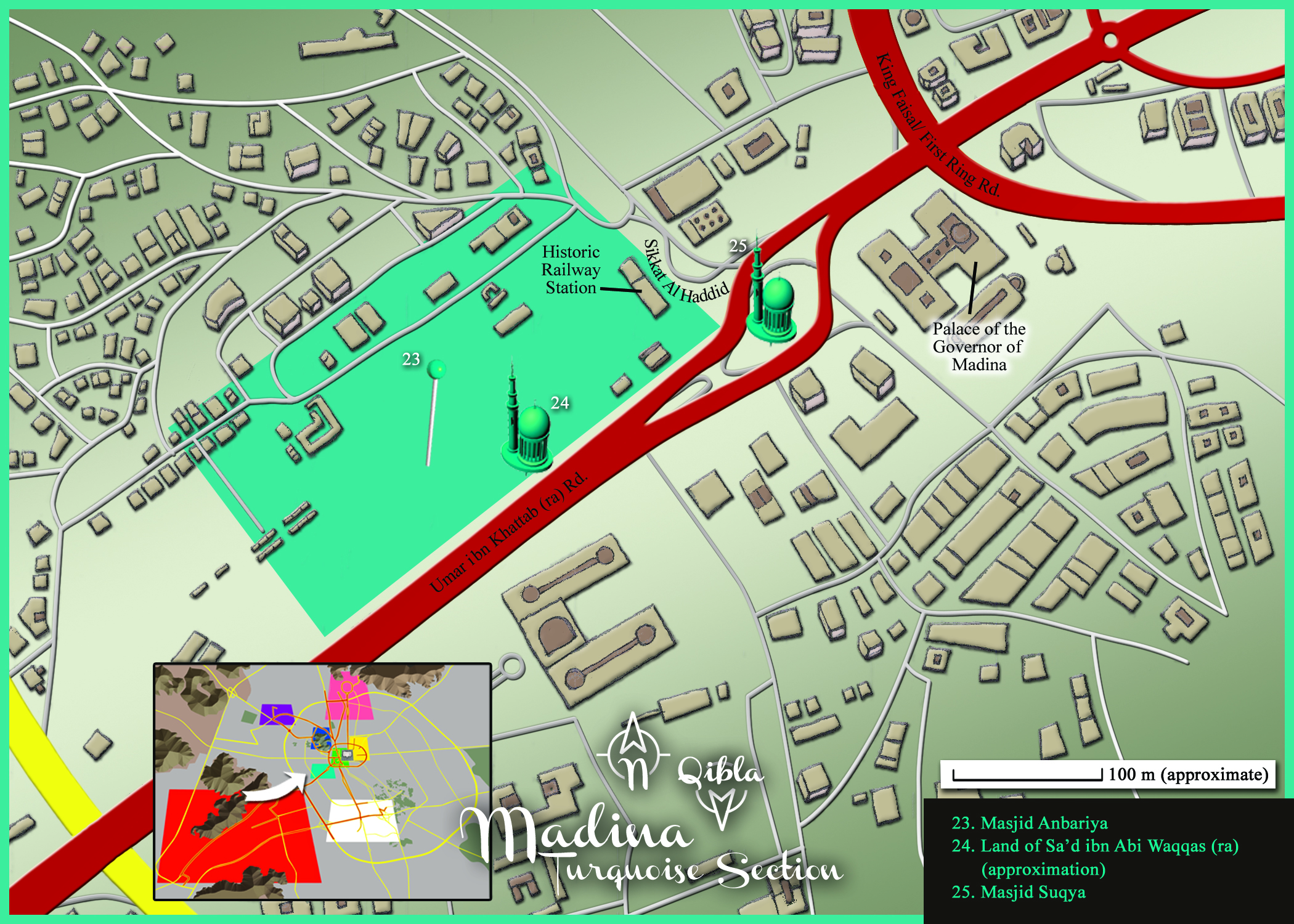 Medina Map: Turquoise Section Detail