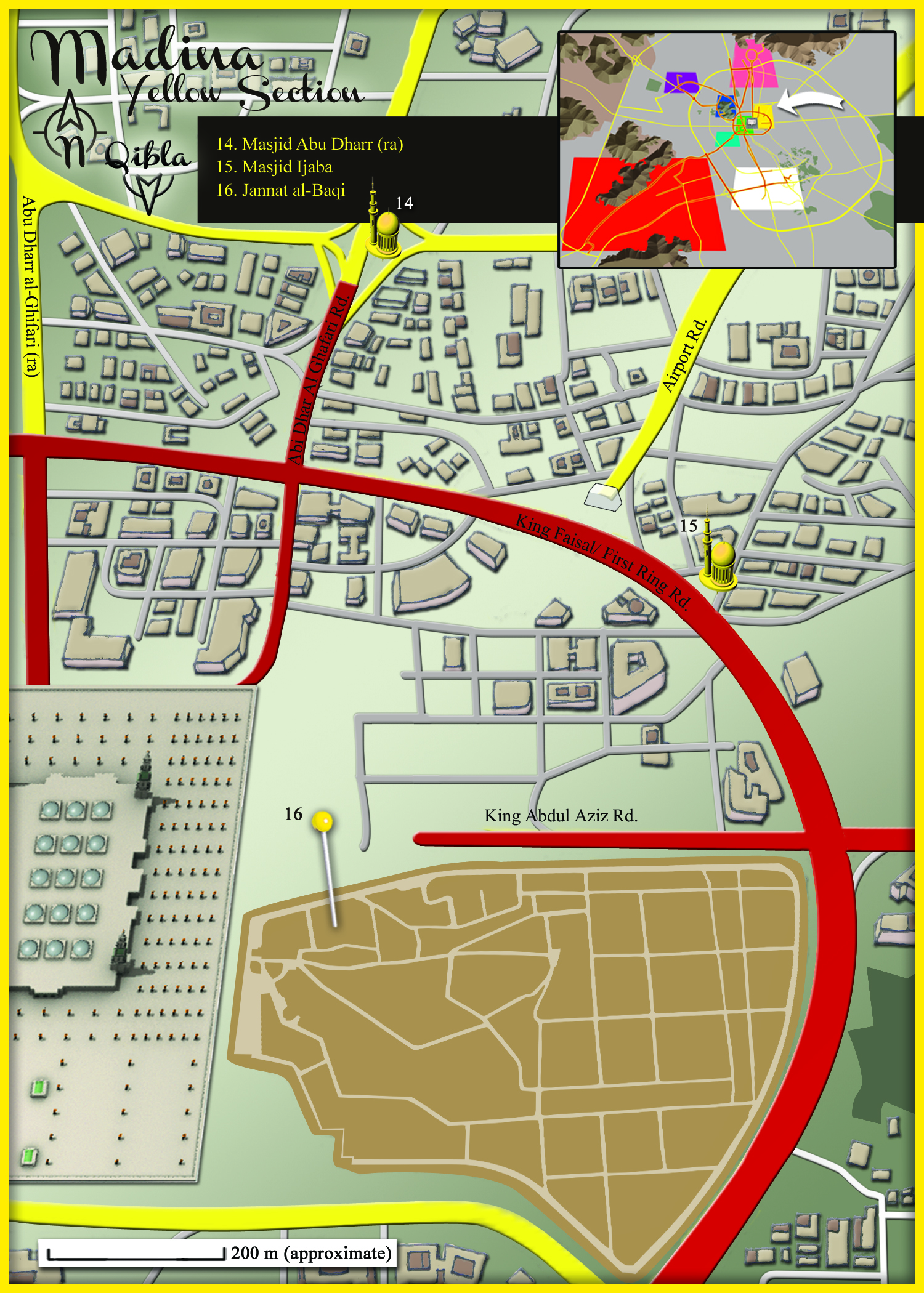 Medina Map: Yellow Section Detail