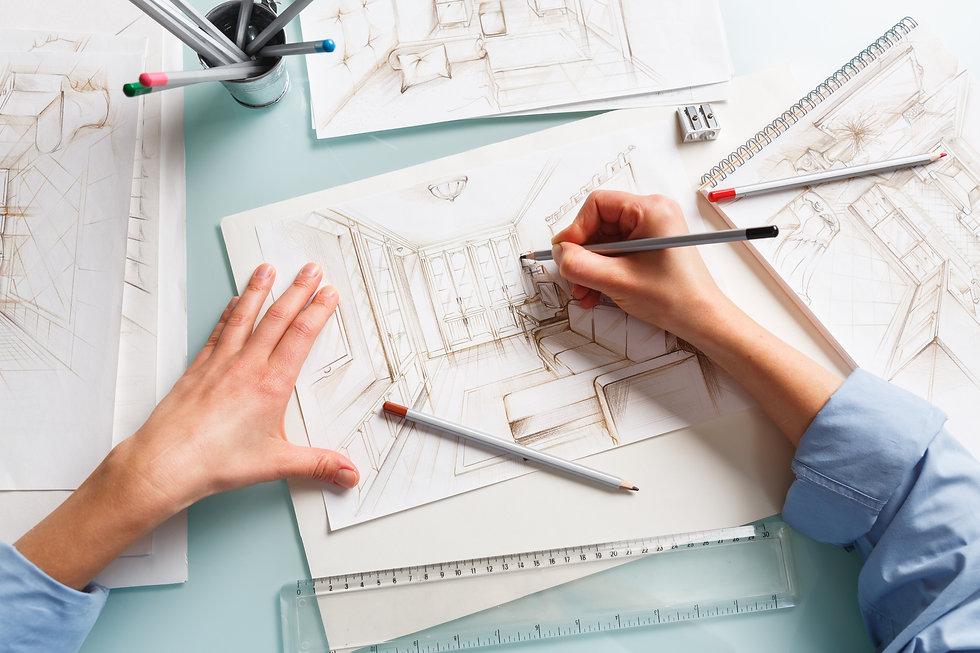 Interior designer drawing pencil illustration of a living room. Interior design projects c