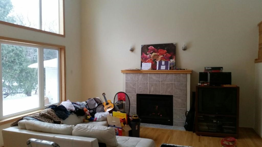 Living Room & Fireplace Before