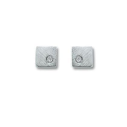 Ohrstecker viereck teilmatt Zirkonia Silber 925/-
