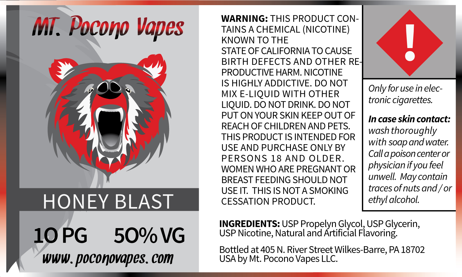 Mt. Pocono Vape Label and Brand