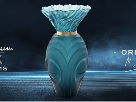 The rapper Gims creates a vase for the Daum crystal factory