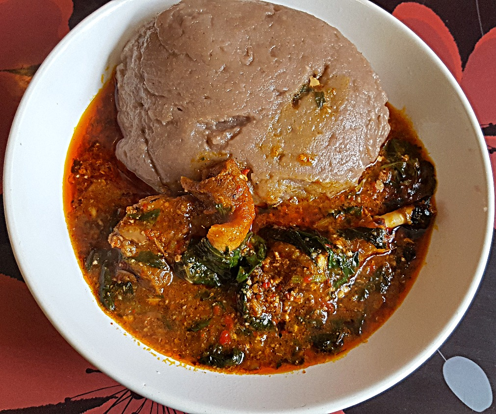 Amala With Spinach and Okro Soup