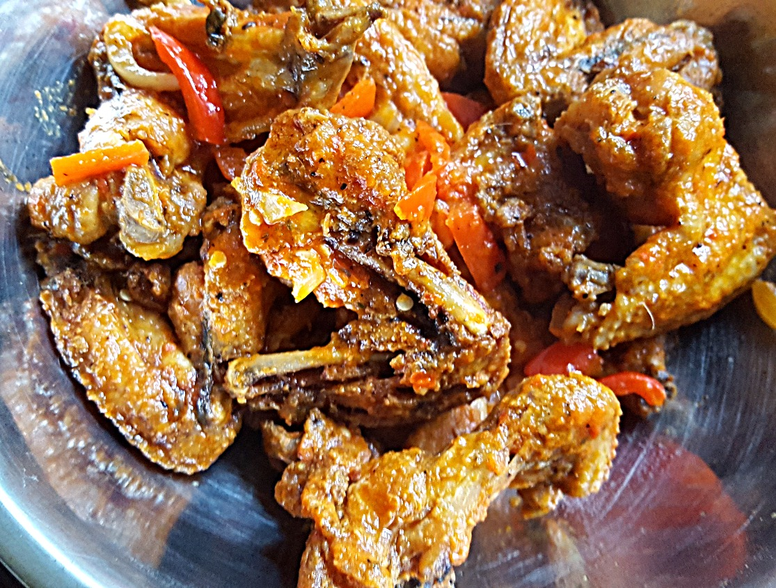 Fried Red Bell Pepper Chicken