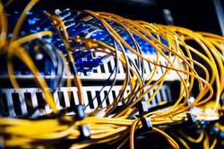 Fiber-optic equipment in a data center.j