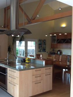 View through kitchen to dining