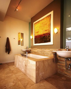 Tub and lavatories in master bath