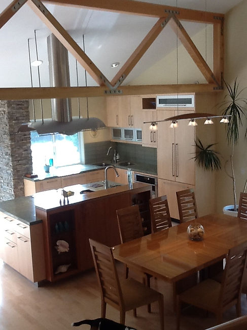 Kitchen remodel, new custom wood truss