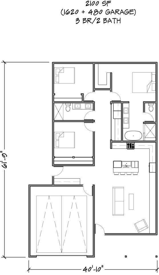 Floor Plan 2,100 SF