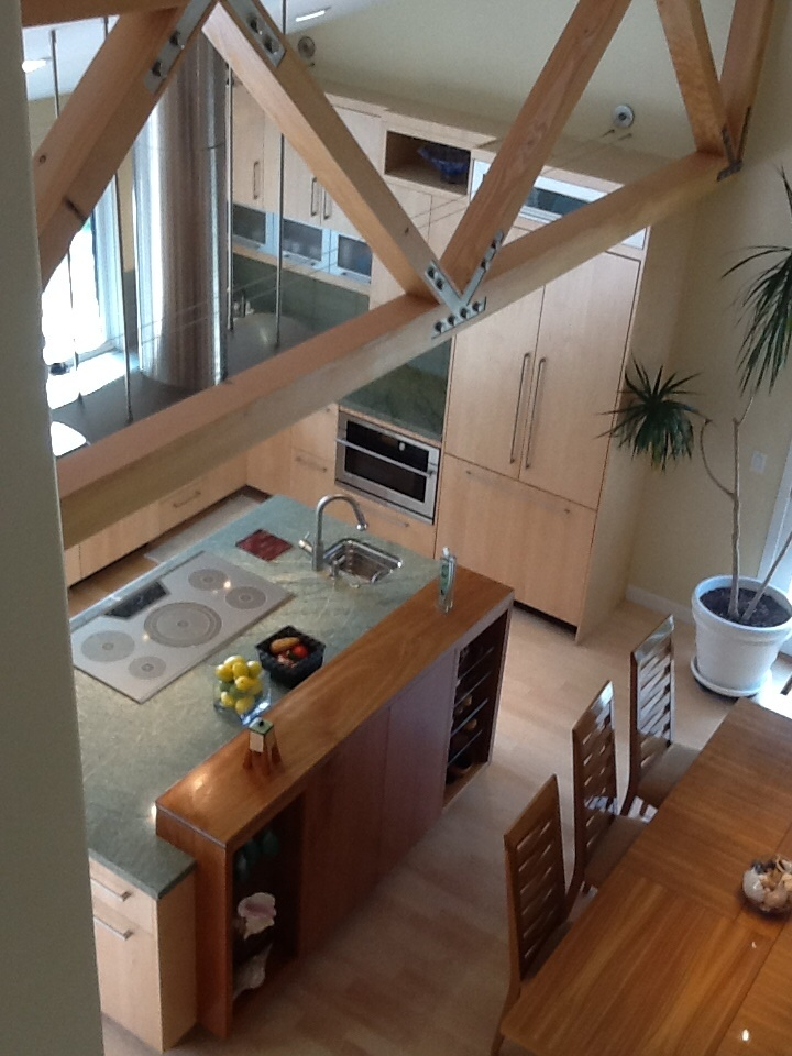View to kitchen from stairs
