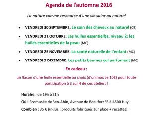 Le calendrier d'AromaRoots à la Ruche de Huy
