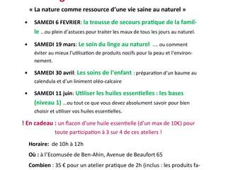 Voici le calendrier des activités AromaRoots à la Ruche de Huy