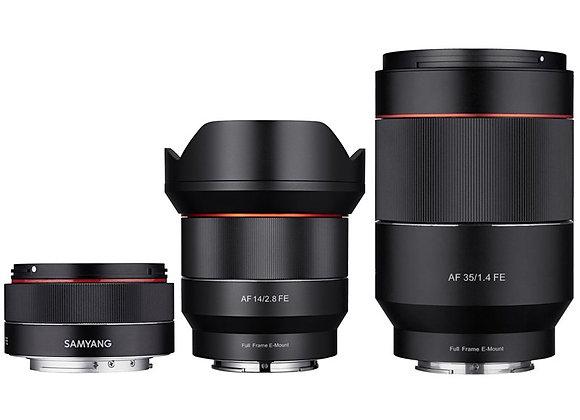 שלוש עדשות אוטופוקוס For Sony 14/2.8, 35/1.4, 50/1.4