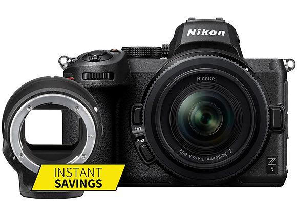 Nikon Z5 +24-50mm+Ftz - קיט Mirrorless מצלמת ניקון - יבואן רשמי