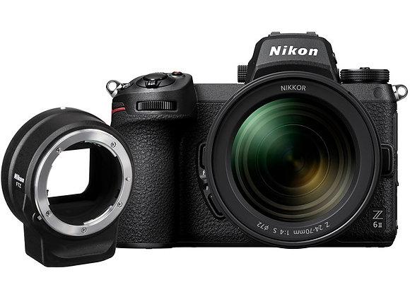 מצלמה חסרת מראה ניקון Nikon Z6II 24-70 F/4 + Ftz Kit - קיט