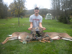 Wesley Freeland shot two does