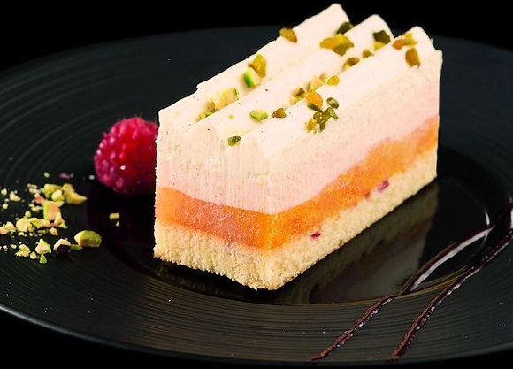 Peach Melba Strip Cake, Frozen