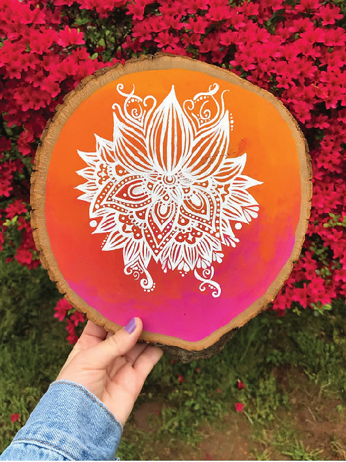 Sunset Mandala Lotus Wood Slice