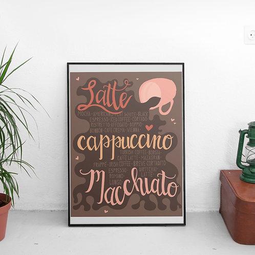 Playful Coffee Print - Digital File