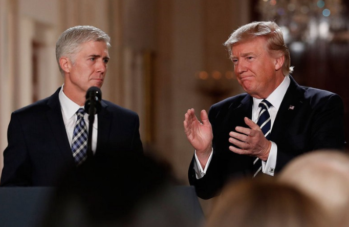 Donald Trump nominating Neil Gorsuch for the Supreme Court. Citation: The Christian Science Monitor A
