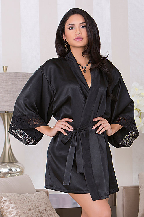 Black Lace and Satin Robe